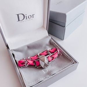 DIOR Pink & Silver Chain Link Bracelet - AUTHENTIC